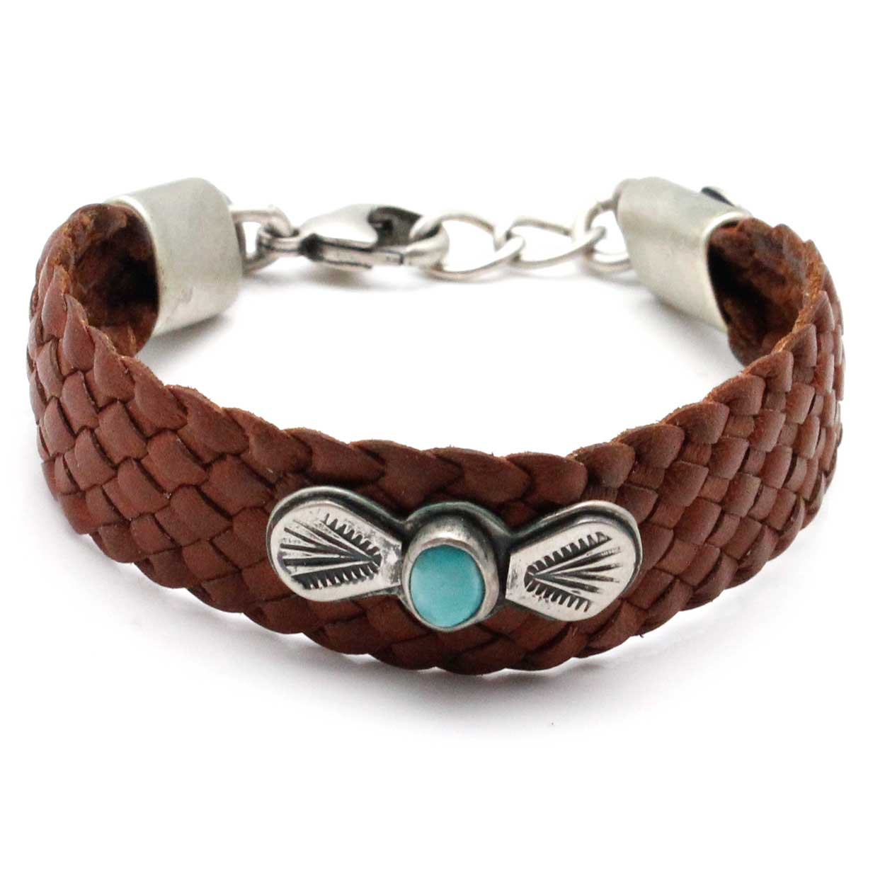 brown leather concho bracelet by dennis hogan indian traders