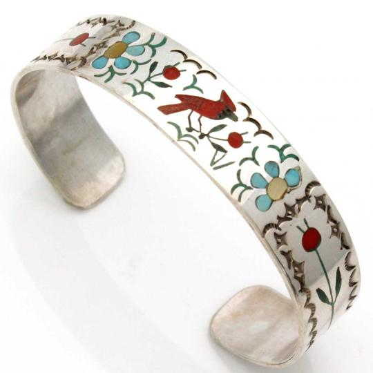 Intricately Inlaid Zuni Cardinal Bracelet By Guardian