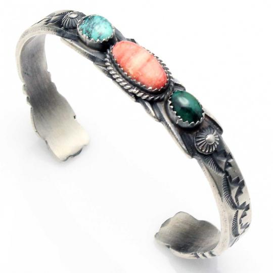 Turquoise Stamped Sterling Silver Bracelet By Navajo Artist Martha Cayatineto