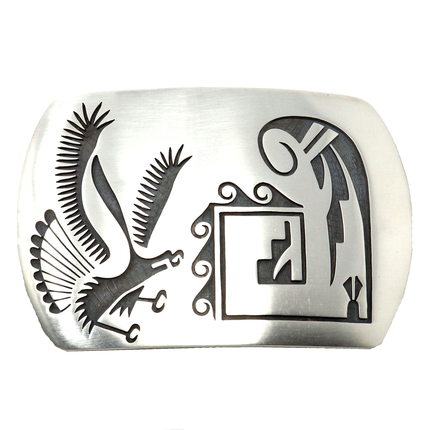 Hopi Silver Belt Buckle Eagle-Prayer Feathers