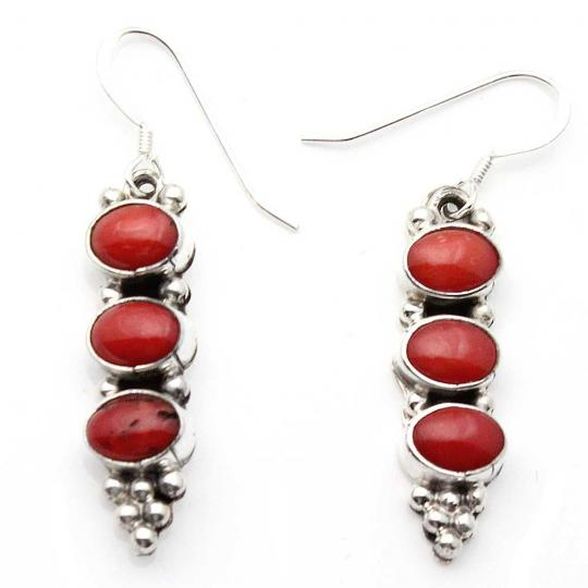 7d10f75ee 3 Stone Coral & Silver Drop Earrings: Indian Traders
