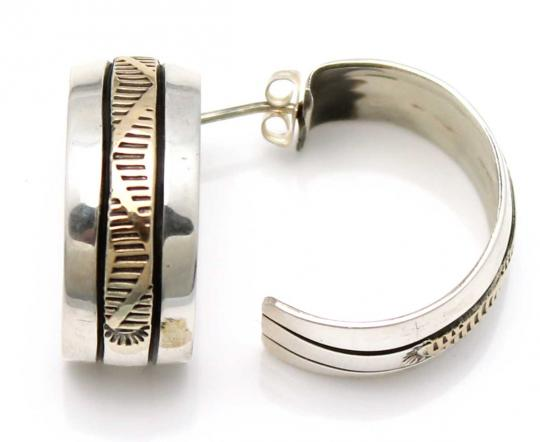 Silver and 14KT Gold Hoop Earrings